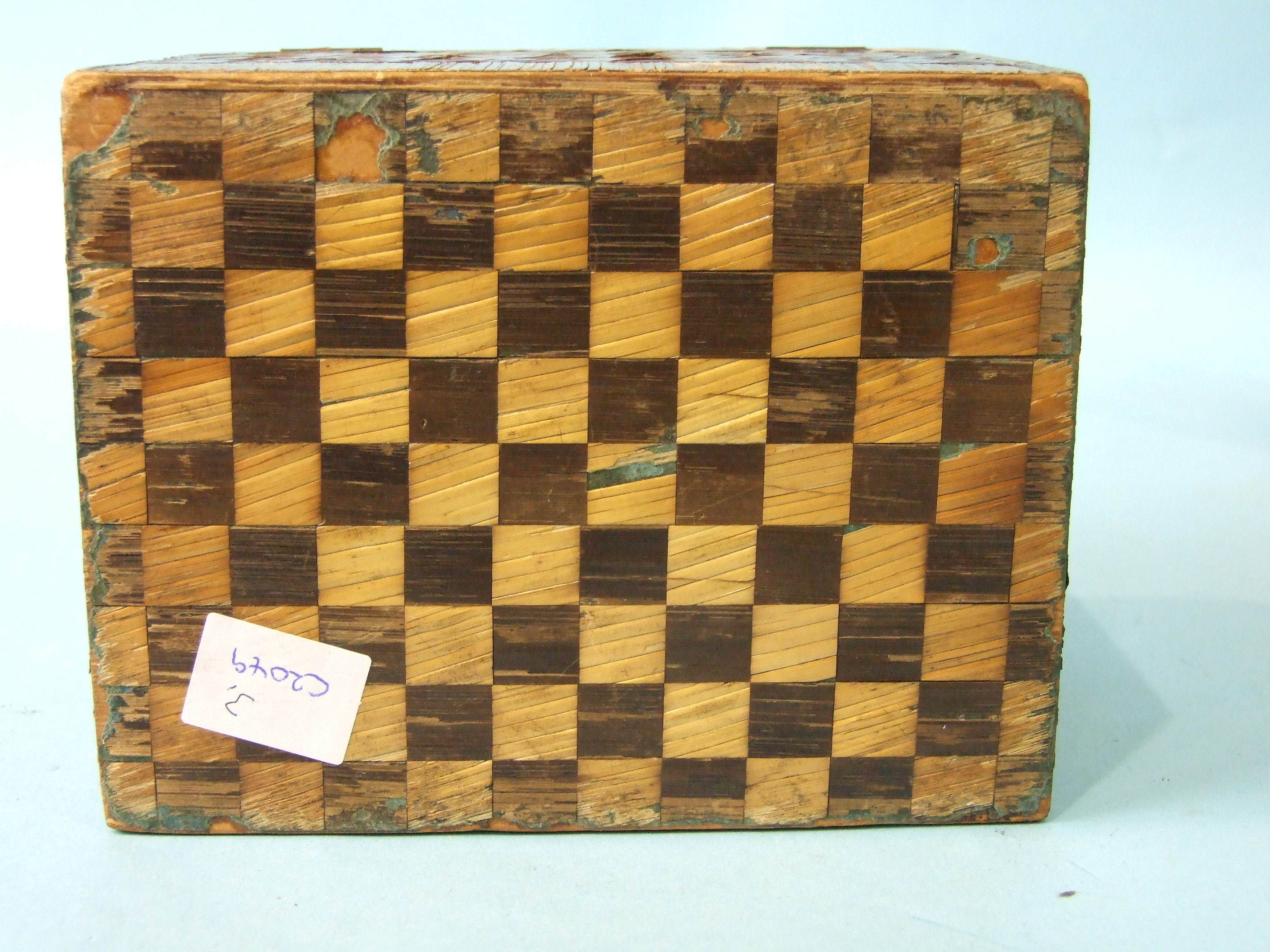 A 19th century straw-work tea caddy, 16cm wide, 12cm high, (losses) and a tortoiseshell two-division - Image 4 of 9
