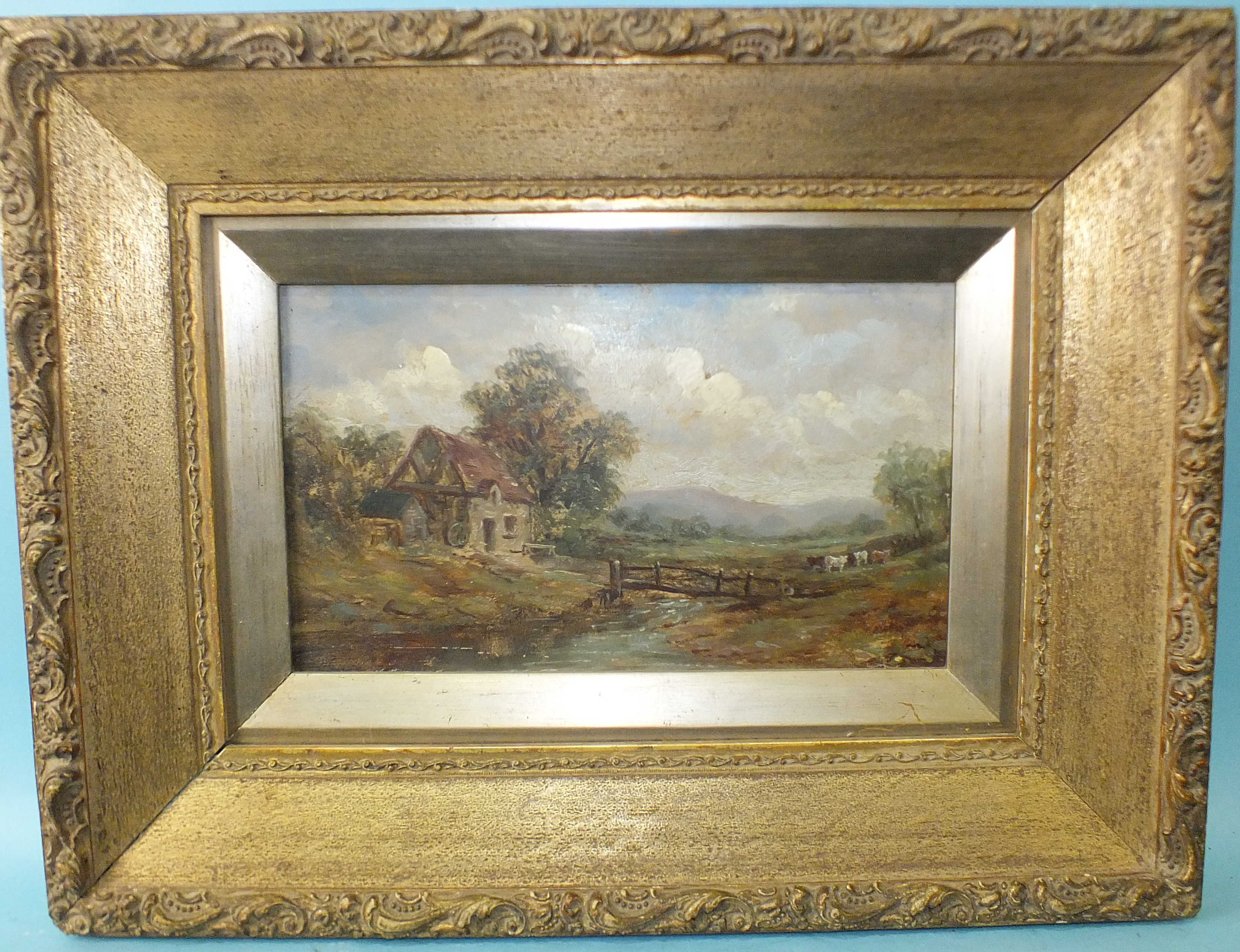 19th century English School CATTLE AND COTTAGE IN PASTORAL LANDSCAPE Unsigned oil on board, 15.5 x