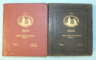 Lloyds Register of Shipping 1953-54, 2 vols, mor gt, 4to, for Norwich Union Fire Insurance Society