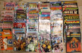 A quantity of comics: Marvel (18), DC (31), Harvey (12) and 24 others, various, (95).