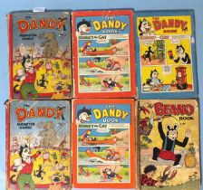 """The Dandy Monster Comic for 1951, two copies, """"Belongs To"""" filled in, poor condition, The Dandy Book"""