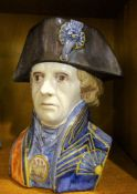 A Delft character jug modelled as Admiral Nelson, 20cm high.