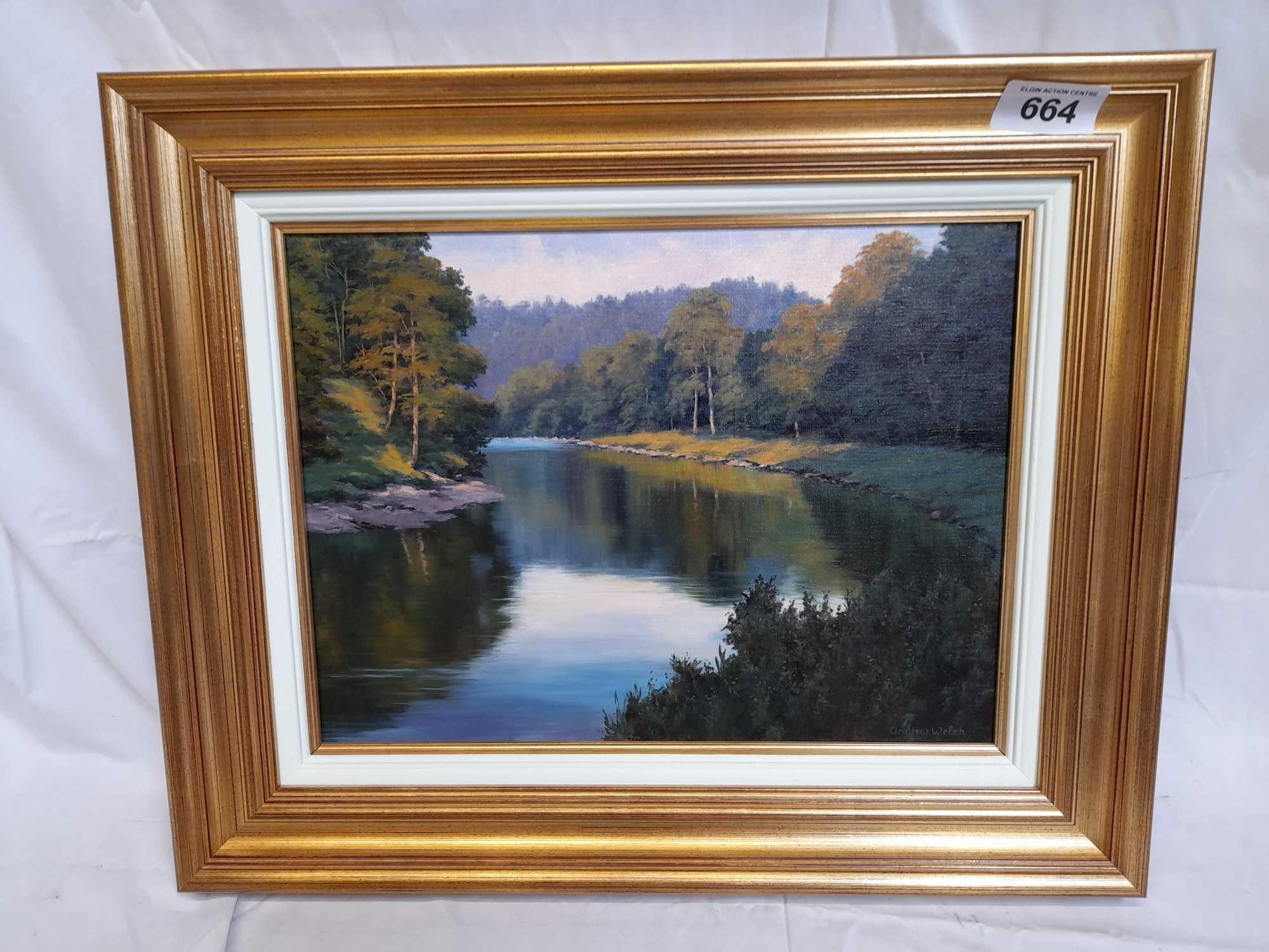 OIL PAINTING EVENING SUNSHINE FINDHORN BY A WELCH