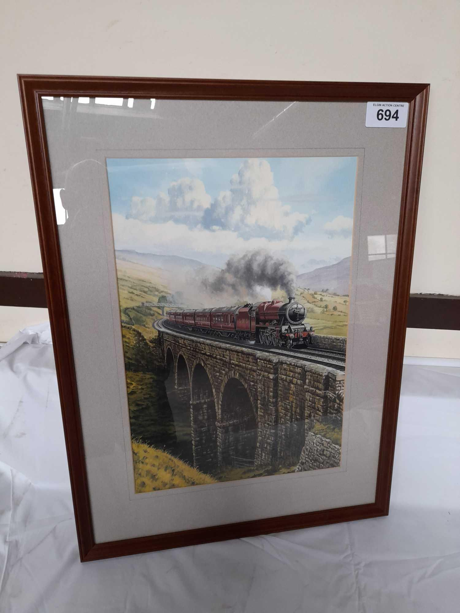 W C PAINTING BY G HEIRON 1990 JUBILEE 5593 ON VIADUCT