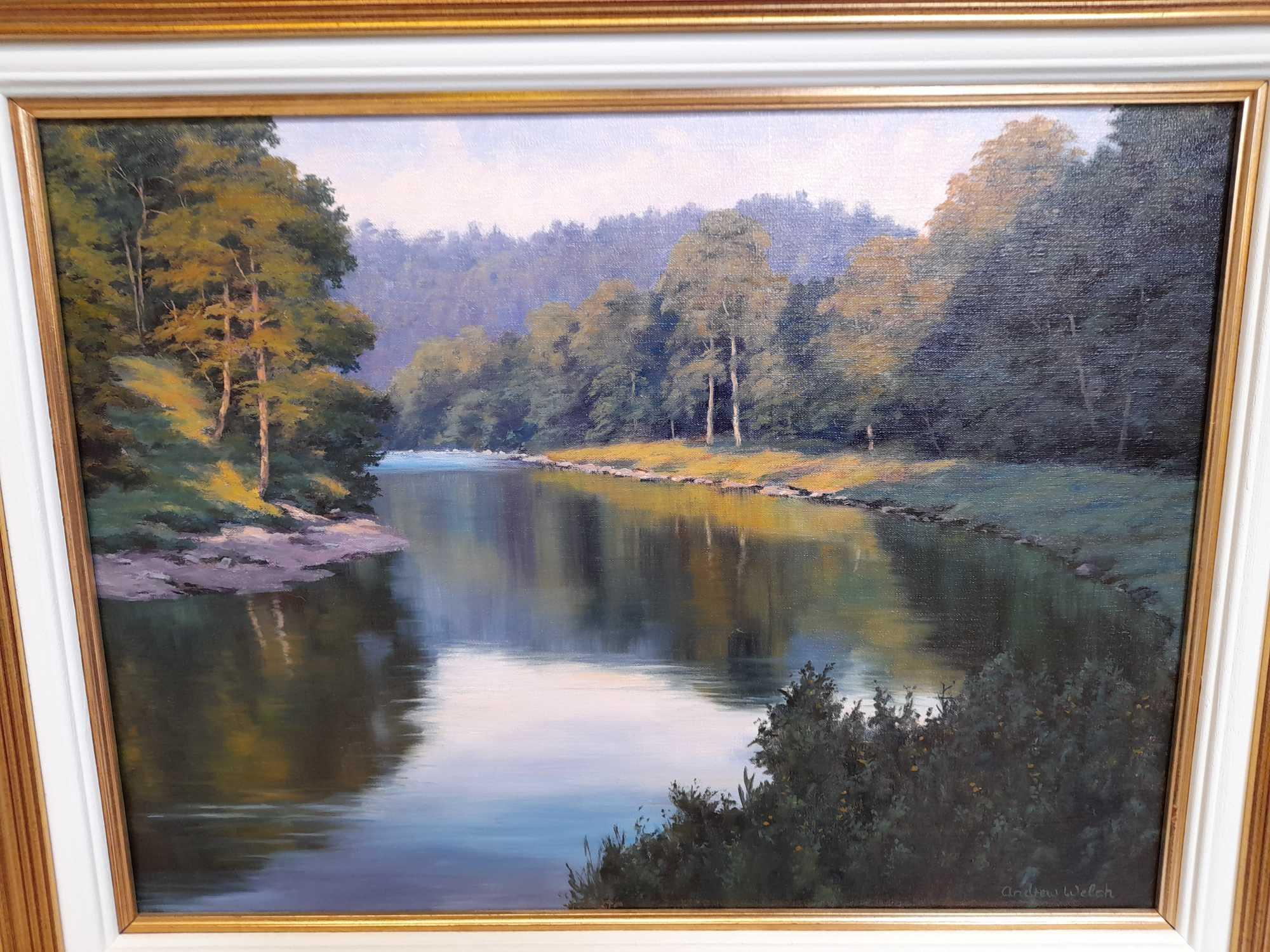 OIL PAINTING EVENING SUNSHINE FINDHORN BY A WELCH - Image 2 of 5