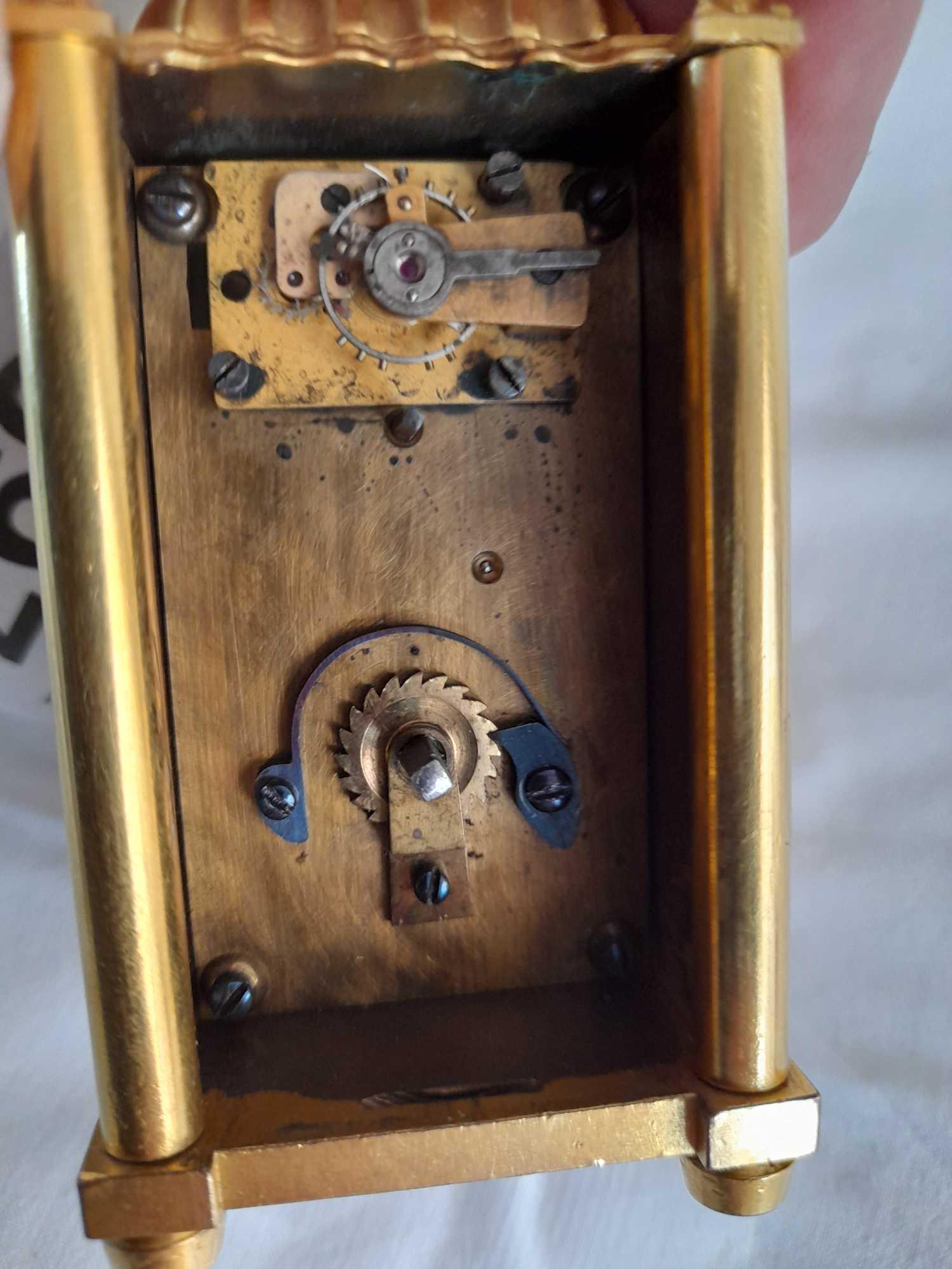 SMALL BRASS CLOCK GROSSMITH LONDON - Image 6 of 6