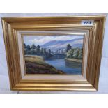 OIL PAINTING SUNLIT HILLS BY A WELCH