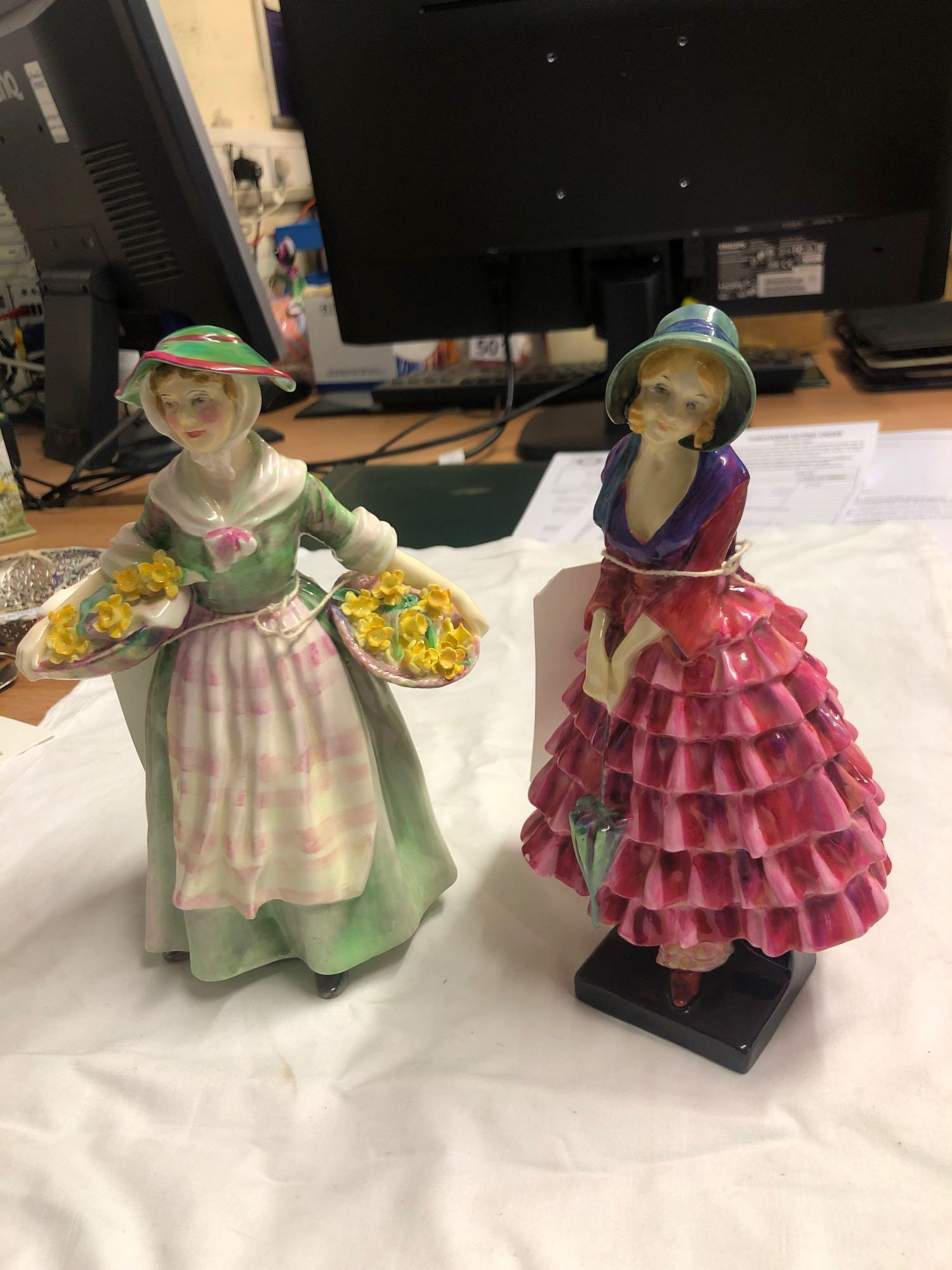 2 ROYAL DOULTON FIGURES- DAFFY DOWN DILLY & PRISCILLA