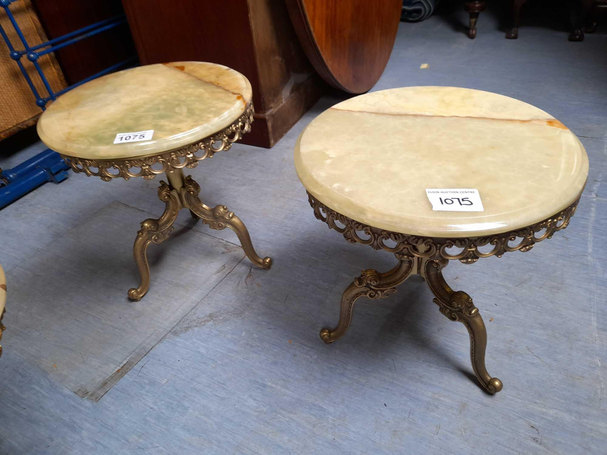 2 SMALL ONYX TABLES