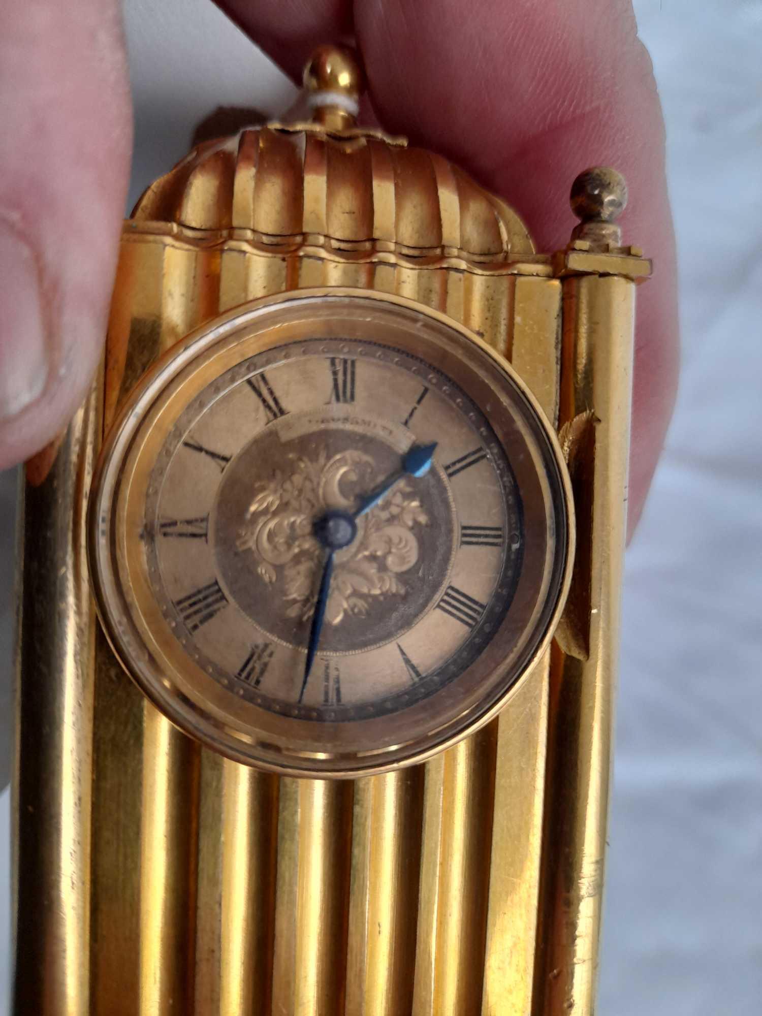 SMALL BRASS CLOCK GROSSMITH LONDON - Image 2 of 6