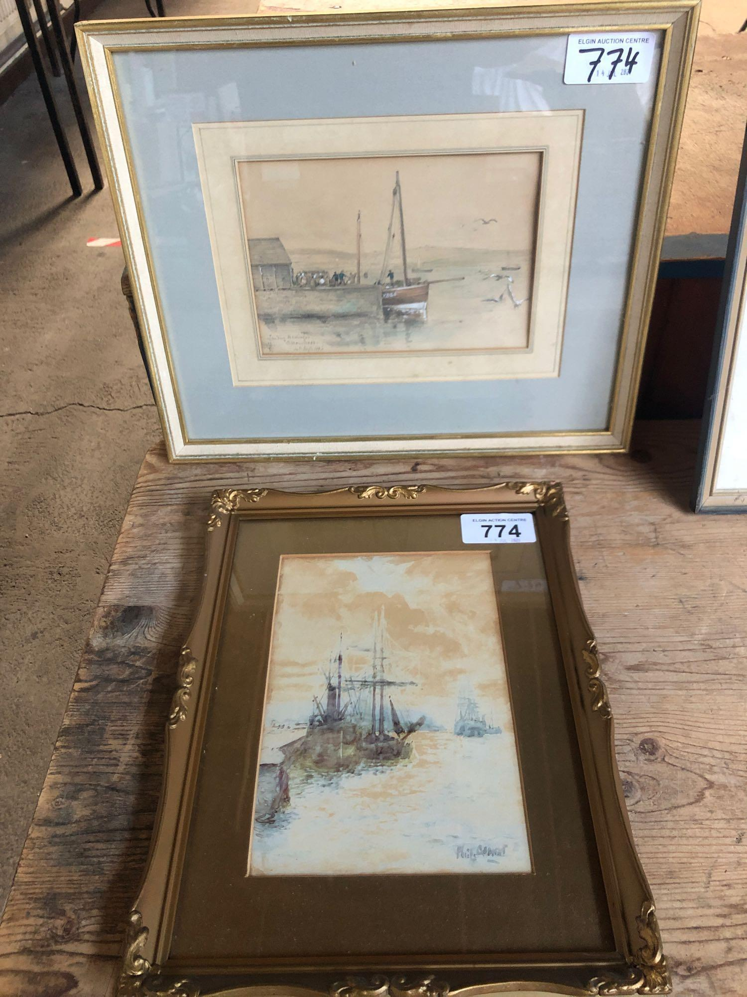 W C PAINTING BOATS (FRAME AF) & PICTURE STROMNESS 1896