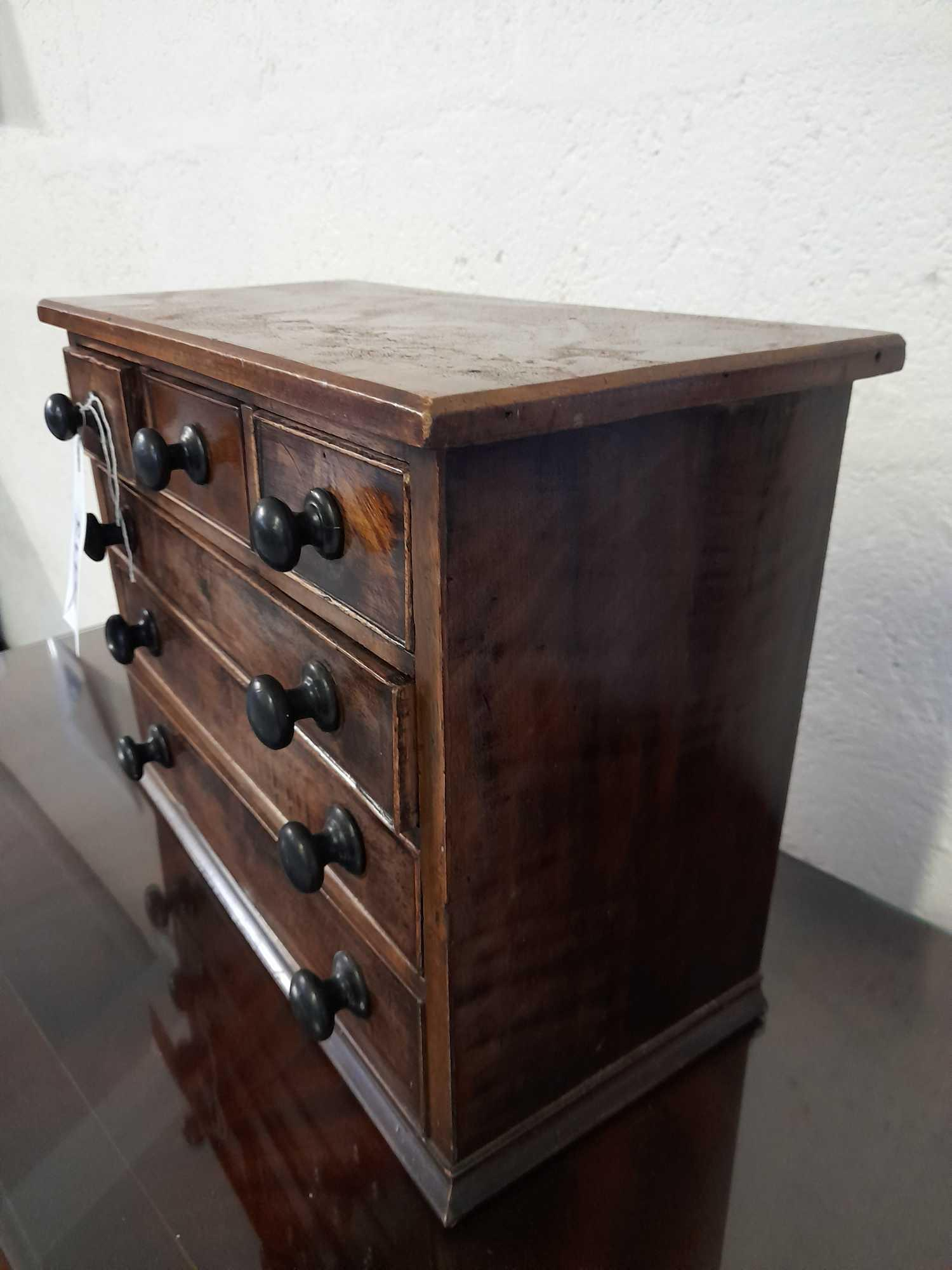 VICTORIAN MAHOGANY MINIATURE CHEST DRAWERS (AF) - Image 2 of 2