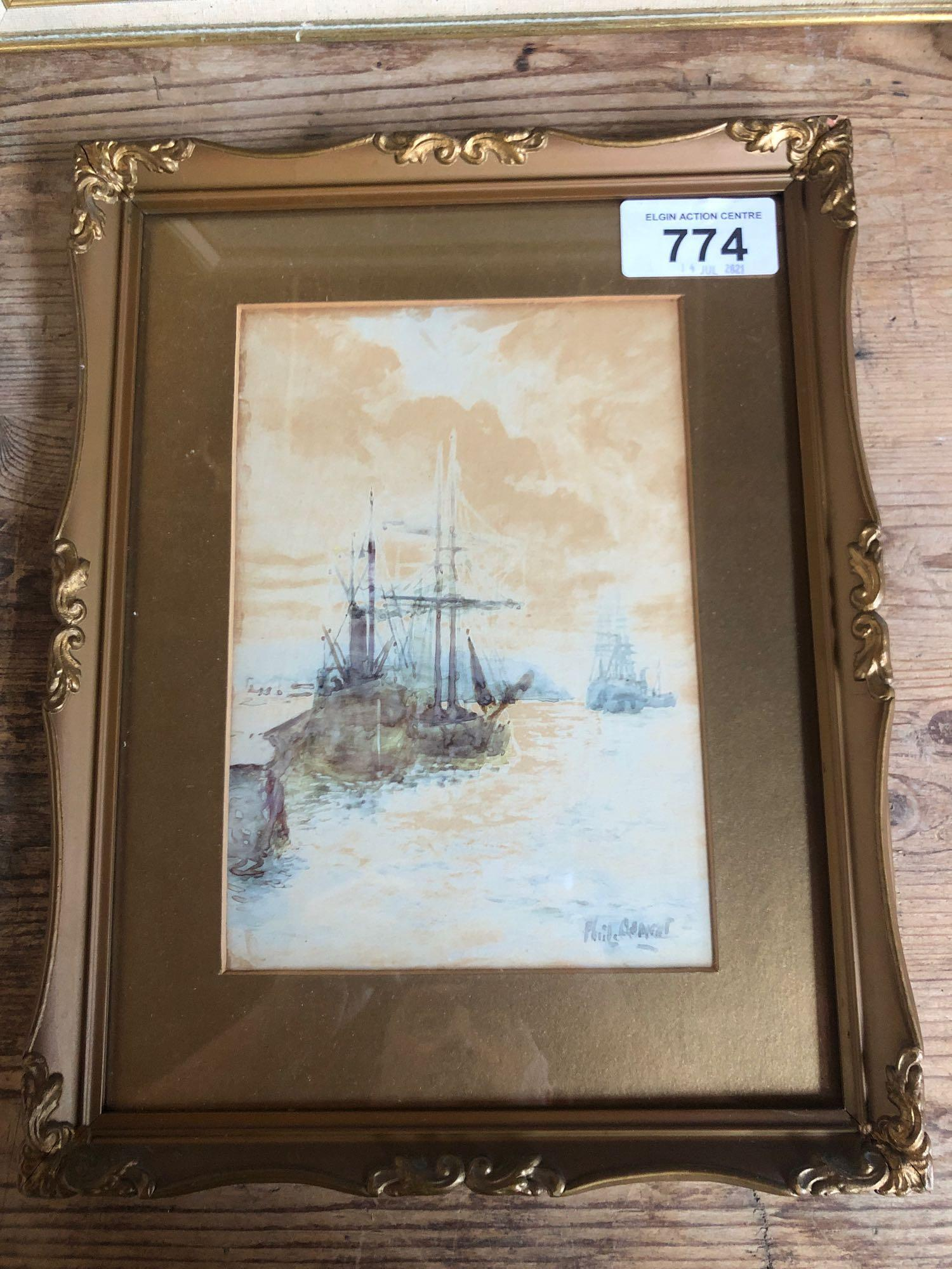 W C PAINTING BOATS (FRAME AF) & PICTURE STROMNESS 1896 - Image 2 of 7
