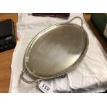 2 HANDLED OVAL SILVER SALVER