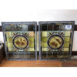 2 SMALL STAINED GLASS WINDOWS (AF)