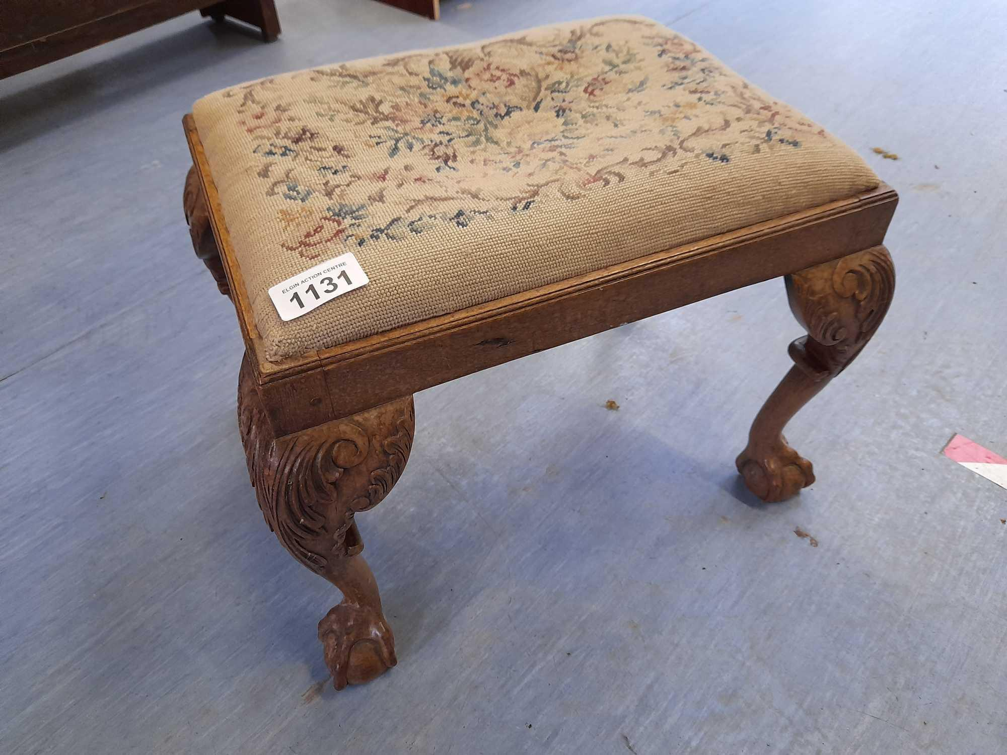 BALL & CLAW LEG TAPESTRY STOOL