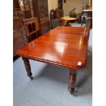"""VICTORIAN MAHOGANY DINING TABLE WITH 2 LEAVES 92"""" X 48"""""""