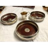 3 SILVER COASTERS & SMALL CUP