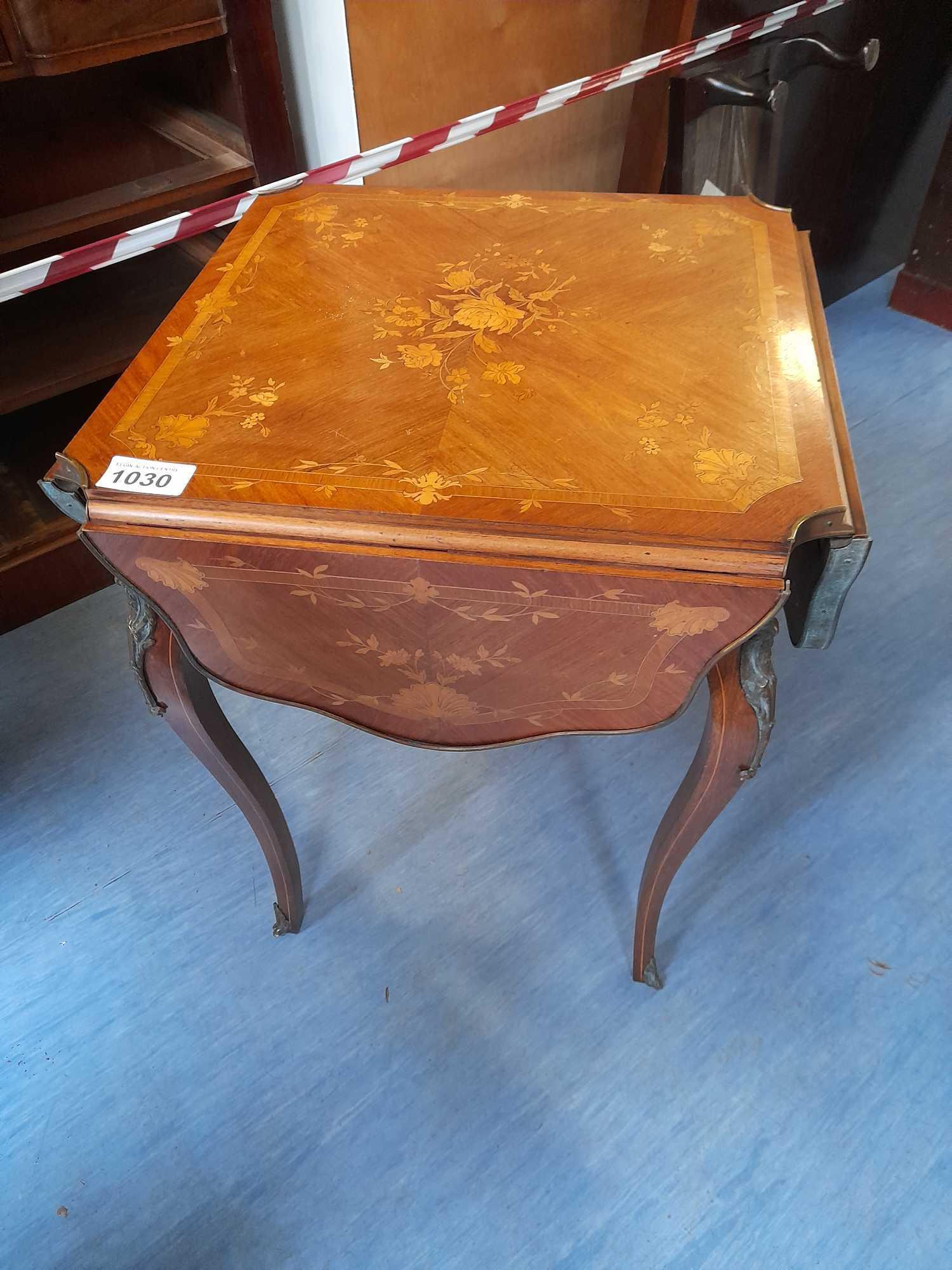 INLAID SIDE CARD TABLE