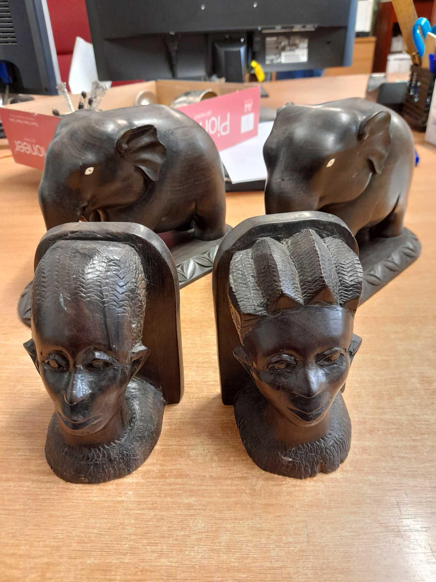 PAIR BOOKENDS & 2 ELEPHANTS (AF)