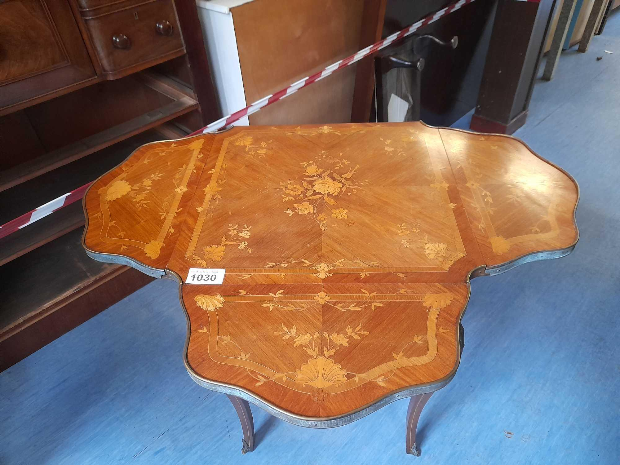 INLAID SIDE CARD TABLE - Image 2 of 6