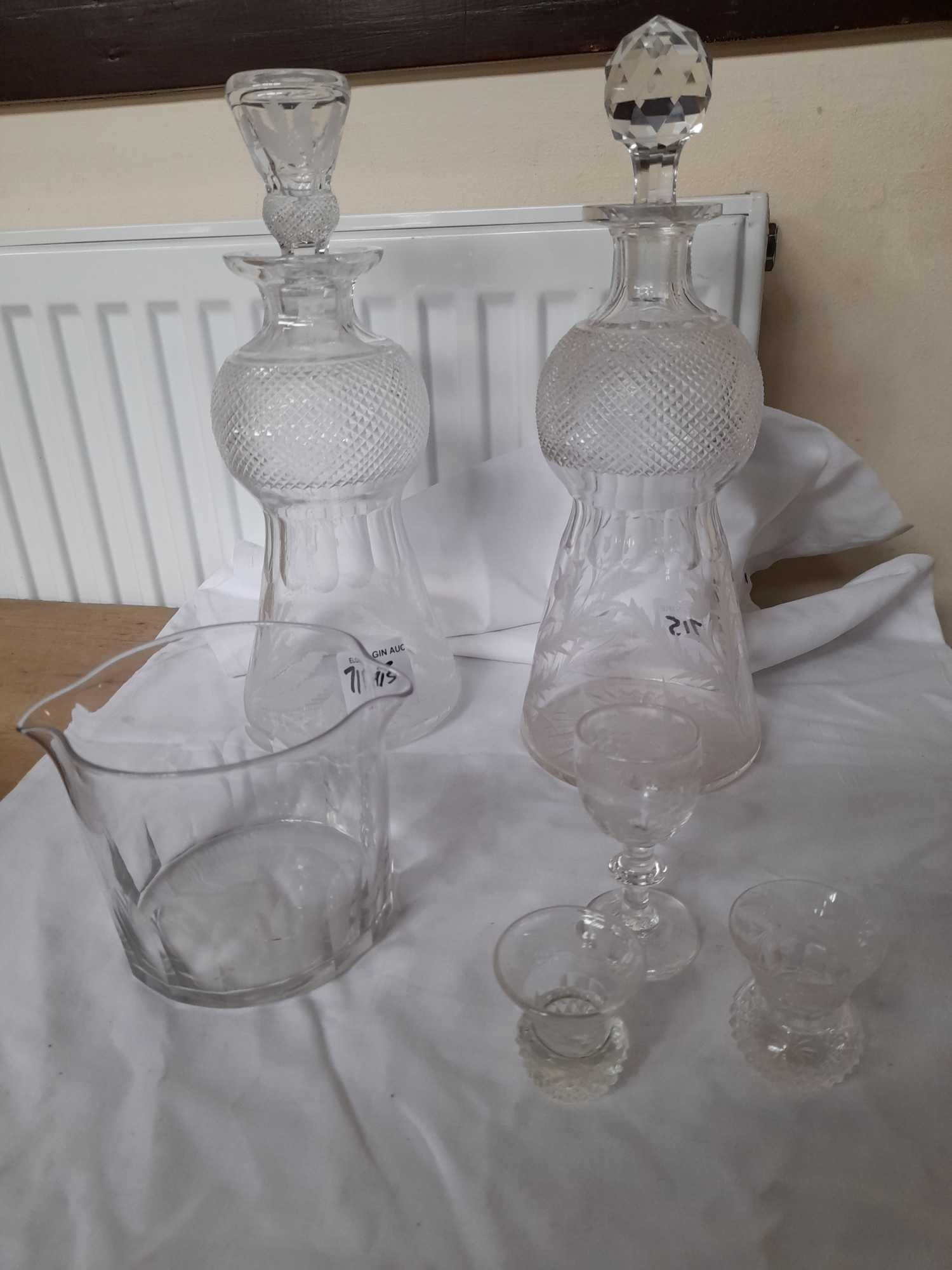 2 DECANTERS & GLASSES ETC (AF)