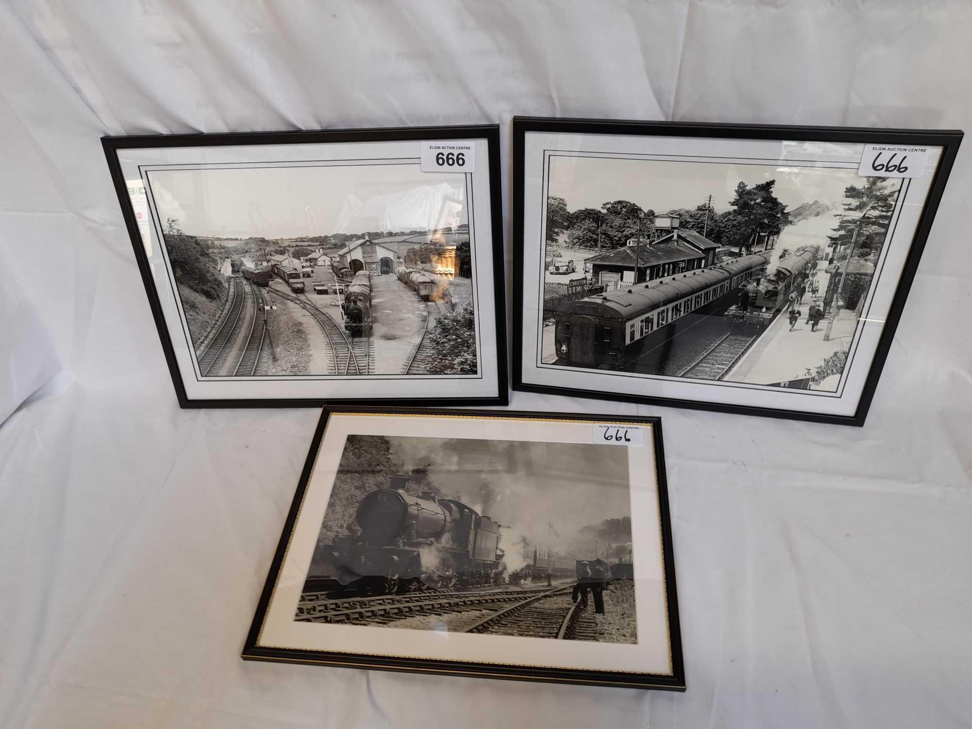 3 FRAMED PHOTOS TRAINS