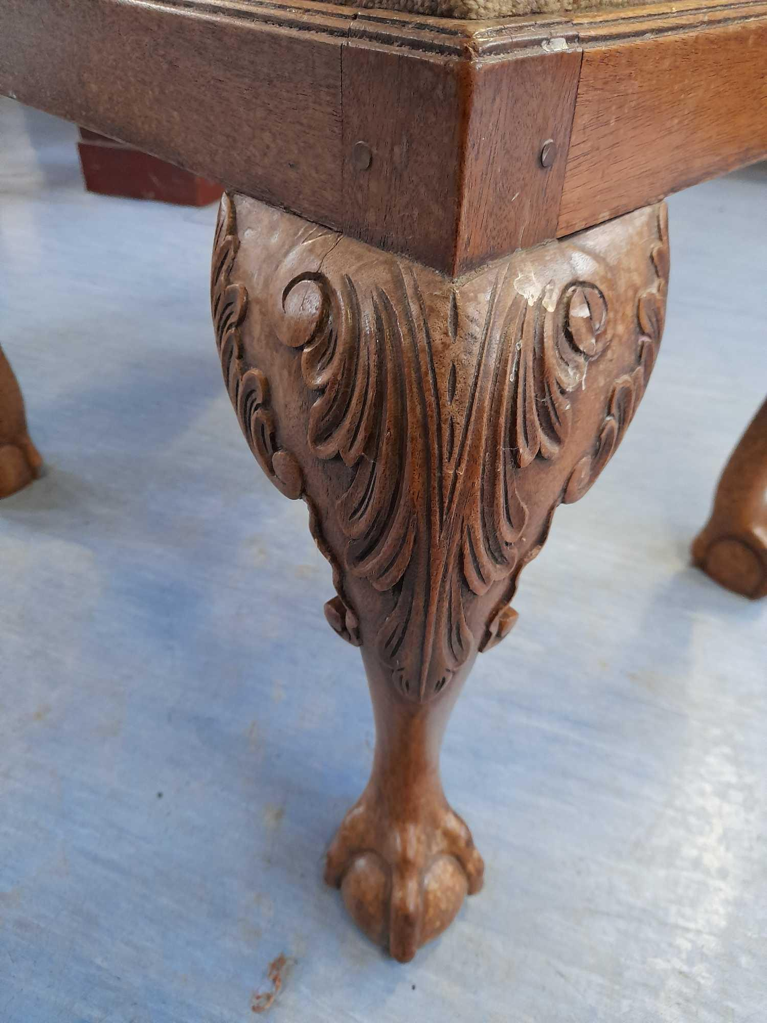 BALL & CLAW LEG TAPESTRY STOOL - Image 3 of 3