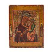 """Ikone """"Gottesmutter der Passion"""", Russland 18./19. Jh.,Darstellung mit Randheiligen un"""