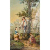 """ITALIENISCHER MALER DES 18.JH. """"Die Kirschpflücker""""Öl auf Leinwand, HxB: 230/137 cm."""