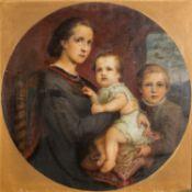 "MALER des 19./20. Jh., ""Junge Mutter mit zwei Kindern in Historismusinterieur"",rechtss"
