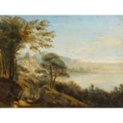 """MARIE oder MARIA (undeutlich sign., Künstler/in 19. Jh.,), """"Französische Küste mit Stadt am B"""