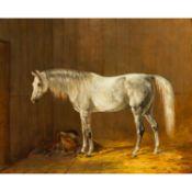 """ADAM, EMIL (1843-1926), """"Im Stall stehender Schimmel"""",zu seinen Füßen der Sattel auf"""