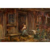 """KOTSCHENREITER, G. HUGO (1854-1908), """"Junge Mutter mit Kind in der Tür eines Hauses"""","""