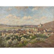 """DRÜCK, HERMANN (Vaihingen/Enz 1856-1931, Kappis-Schüler), """"Obertürkheim mit Petrus-Kirche"""",</"""