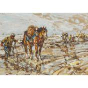 """SEYLER, JULIUS (1873-1958), """"Crevettenfischer mit Pferden am Strand"""", u.re. signiert, Öl/"""