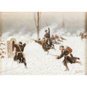"SELL, CHRISTIAN, wohl d.J. (1854/56-1925), ""Preußische Infanterie auf verschneitem Feld"",<b"