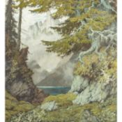 """HODIENER, HUGO HODINA (1886-1945) """"Burg am Ufer eines Bergsees""""Tempera auf Leinwand, s"""