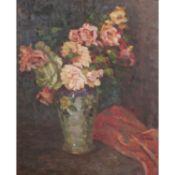 """BUSSE-SCHEIFFELE, P., """"Blumenstrauss""""Öl auf Platte, sig., HxB: 67/55 cm, Rahmen, Alte"""