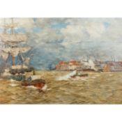 "DIRKS, ANDREAS (1865-1922) ""Hafenszenerie""Öl auf Leinwand, signiert unten rechts, HxB"