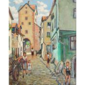 """SCHNEIDER, ANDRÈ """"Dörfliche Straße"""" 1943Öl auf Leinwand, sig.und dat., HxB: 70/56"""