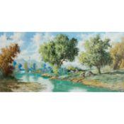 """PLANELLS, A. (Maler 20. Jh.), """"Paisage"""",Junge Frau mit Hund an einem Flussufer, im Hin"""