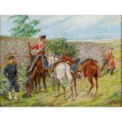 "SELL, CHRISTIAN, wohl d.Ä. (1831-1883), ""Spähende Husaren"",mit Pferden hinter Mauer,"