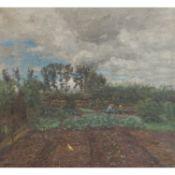 """FLAD, GEORG (Heidelberg 1853-1913 Dachau), """"Garten"""",Kinder und ein Huhn zwischen den B"""