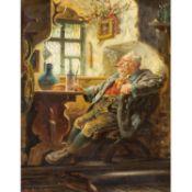 """URBAN, JOSEPH (1872-1933) """"In die Bauernstube""""Öl auf Leinwand, HxB: 27/22 cm., Rahmen"""