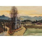 """HENNEBERGER, AUGUST PHILIPP (1902-1980), """"Winterliche Voralpenlandschaft"""",im Vordergru"""