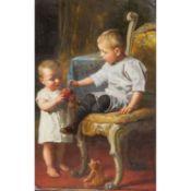 """WAGNER, P. wohl PAUL (1864-?), """"Zwei Kinder mit Apfel und Bär"""",das Größere auf eine"""