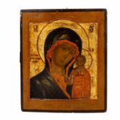"""IKONE """"Gottesmutter von Kazan"""", Russland wohl 17. Jh.,mit Bezeichnung in Kirchenkyrill"""