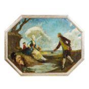 """BAUER, LEO (1872-1960) """"Rokoko-Paar""""Öl auf Platte, sig. """"Leo Bauer"""", HxB: 65/85 cm, R"""