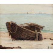 """WINNERWALD, EMIL (1859-1934) """"Verfallendes Ruderboot auf Strand""""Öl auf Leinwand, mono"""
